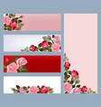 red rose banners print template with vector image