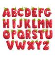 ripe fresh strawberry english alphabet bright red vector image