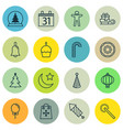 set of 16 new year icons includes birthday cake vector image vector image