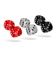 set of falling dice isolated on white vector image