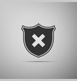 shield and cross x mark icon on grey background vector image