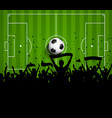 Soccer football crowd on a green pitch background vector image vector image