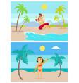 summer vacation kids having fun on vacations set vector image vector image