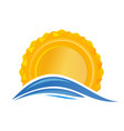 sun over the sea sunrise logo icon vector image