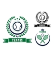 Tennis sports emblems or badges vector image