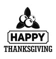 thanksgiving logo simple style vector image vector image