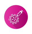 vaccine and coronavirus icon with long shadow for vector image vector image