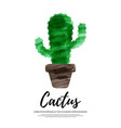 watercolor cactus in a pot ceramic pot poster vector image