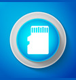 white micro sd memory card icon on blue background vector image