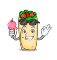 with ice cream burrito character cartoon style vector image