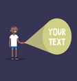 young black man holding a flashlight your text vector image vector image