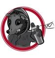 badge with man rat graffiti vector image