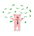 a pig in a tie and with a watch is scattered about vector image vector image
