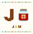 alphabet for children letter j and jam vector image vector image