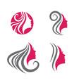 beauty woman face logo set vector image vector image
