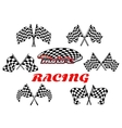 Black and white heraldic checkered racing flags vector image vector image