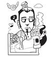 black and white man smoking vector image vector image