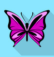 black purple butterfly icon flat style vector image vector image