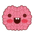 brain character with happy expression in colorful vector image