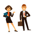 businesswoman with folder and businessman with vector image vector image