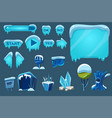 buttons with snow set game user interface with vector image