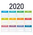 calendar 2020 basic grid simple design template
