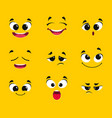 cartoon faces collection different emotions smile vector image