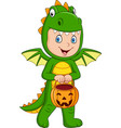 cartoon kid with halloween dragon costume holding vector image vector image