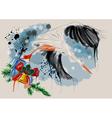 Christmas stork vector image vector image