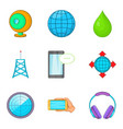 cordless equipment icons set cartoon style vector image