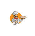 creative happy chef holding pizza in orange circle vector image
