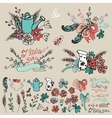 Doodle floral group hand sketched decor set vector image