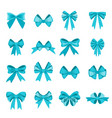 elegant blue bows from a wide ribbon decor vector image vector image