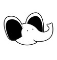 elephant cartoon head in black silhouette with vector image