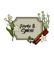 emblem herbs and spices plants and organ food vector image vector image