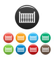 fence with column icons set color vector image vector image
