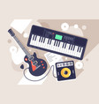 flat music equipment with electrric guitar vector image