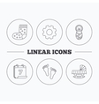 Footprint cradle and newborn baby icons vector image