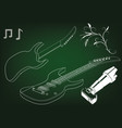 guitar on a green vector image