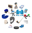 hockey cartoon icons set vector image vector image