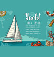 horizontal poster for yacht club with text vector image