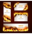 Hot fire banners set vector image vector image