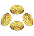 isometric golden icon of coin dollar vector image vector image