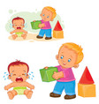 little baby crying while an older brother wants to vector image vector image