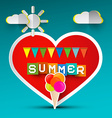 Love Summer Red Heart and Ice Cream Paper Cut vector image vector image