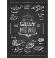 meat menu set meat symbols beef pork vector image vector image