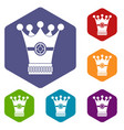 medieval crown icons set hexagon vector image vector image