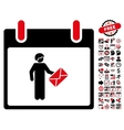 Postman Calendar Day Flat Icon With Bonus vector image vector image