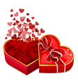 red heart box with hearts vector image vector image
