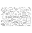 russian vodka and diferent food elements black vector image vector image
